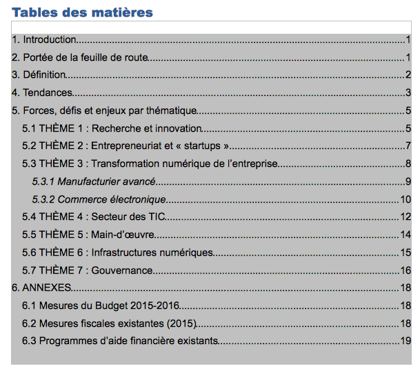 Table des matières, groupe de travail économie numérique du Québec